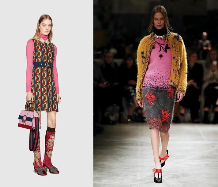 À esquerda: Gucci / À direita: Prada